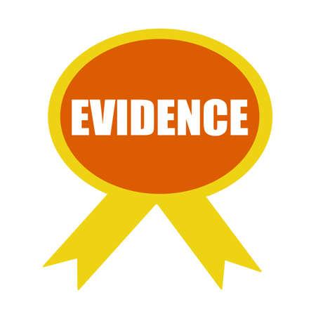 evidence: evidence white wording on background Orange ribbon Stock Photo