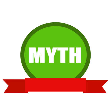 myth: MYTH white wording on Circle green background ribbon red