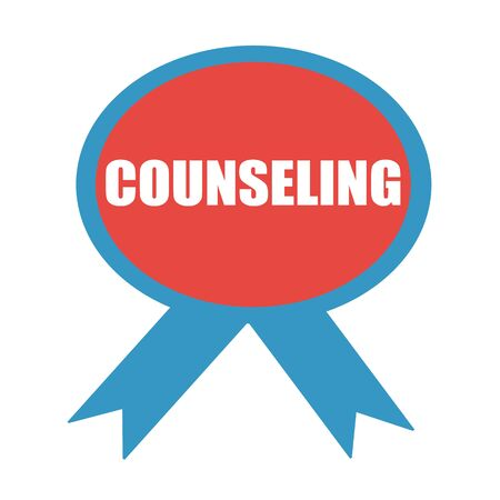 counseling: COUNSELING white wording on background red ribbon