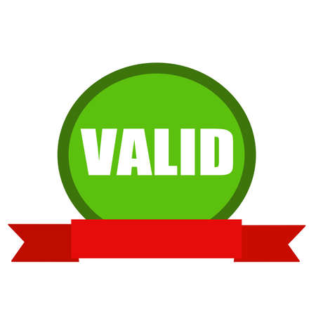 valid: VALID white wording on Circle green background ribbon red