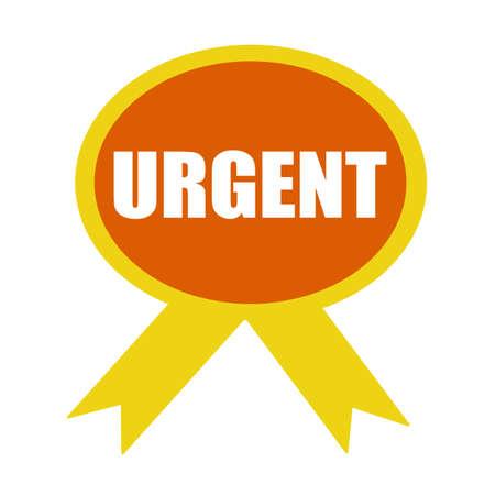 urgent: Urgent white wording on background Orange ribbon