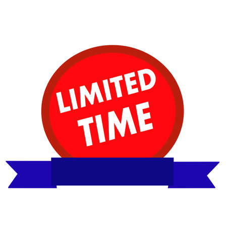 limited time: Limited time white wording on Circle red background ribbon blue