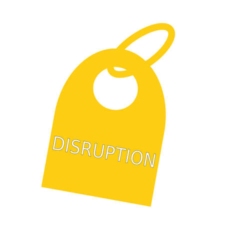 disruption: DISRUPTION white wording on background yellow key chain