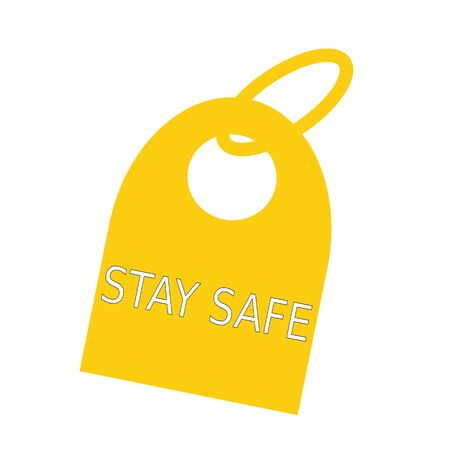 key chain: stay safe white wording on background yellow key chain
