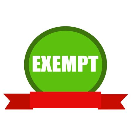 exempt: EXEMPT white wording on Circle green background ribbon red Stock Photo