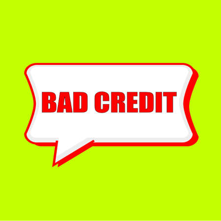 bad credit red wording on Speech bubbles Background Yellow lemon