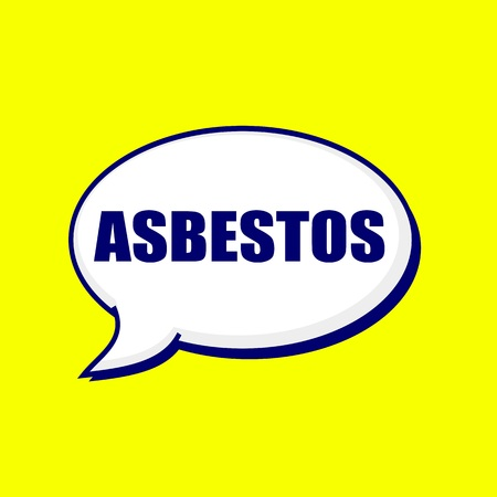 ASBESTOS blue-black wording on Speech bubbles Background Yellow