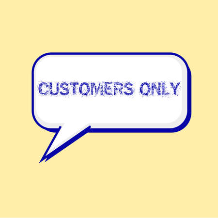 only: CUSTOMERS ONLY blue wording on Speech bubbles Background Yellow-White Stock Photo