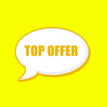 TOP OFFER orange wording on Speech bubbles Background Yellow