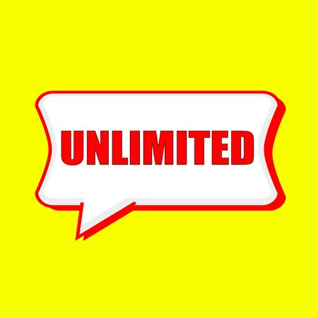 unlimited: unlimited red wording on Speech bubbles Background Yellow Stock Photo
