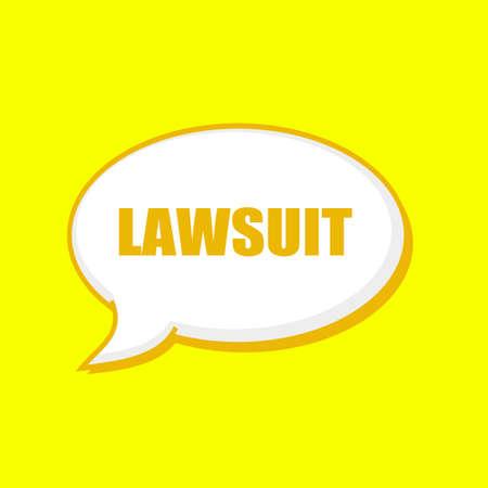 lawsuit: LAWSUIT orange wording on Speech bubbles Background Yellow