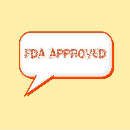 fda: FDA Approved Orange wording on Speech bubbles Background Yellow-White