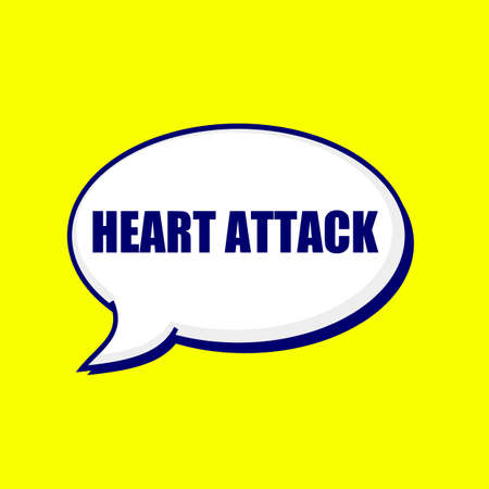 heart attack: Heart Attack blue-black wording on Speech bubbles Background Yellow Stock Photo