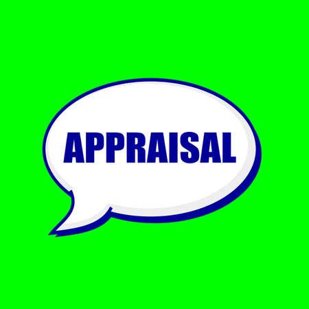 appraisal: APPRAISAL blue wording on Speech bubbles Background Green Stock Photo