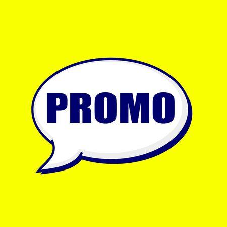promo: Promo blue-black wording on Speech bubbles Background Yellow