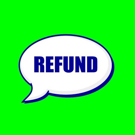 refund: REFUND blue wording on Speech bubbles Background Green