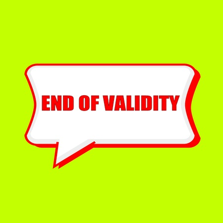 validez: end of validity red wording on Speech bubbles Background Yellow lemon Foto de archivo