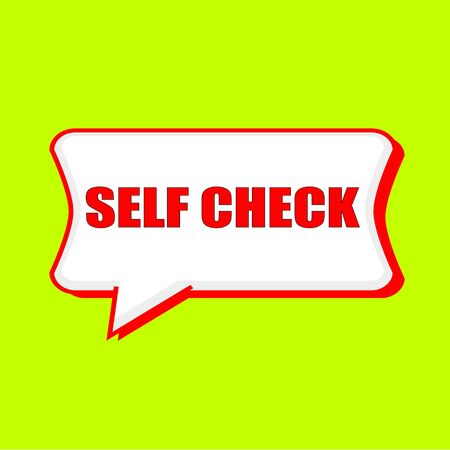 self check red wording on Speech bubbles Background Yellow lemon Stock Photo