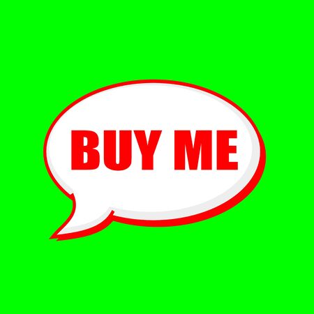 Buy me red wording on Speech bubbles Background Green Stock Photo