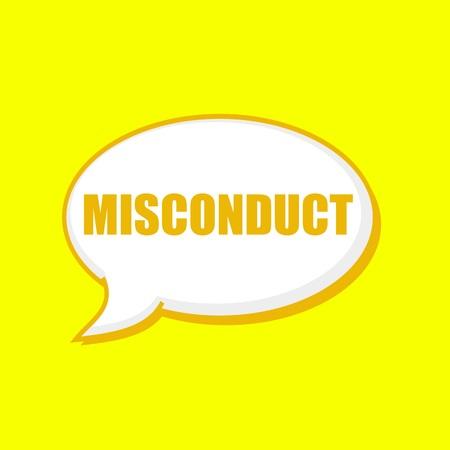 misconduct: MISCONDUCT orange wording on Speech bubbles Background Yellow Stock Photo