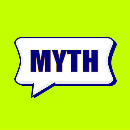 myth: MYTH blue wording on Speech bubbles Background Yellow lemon