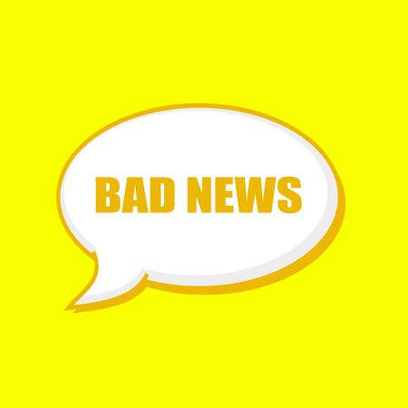 bad news: BAD NEWS orange wording on Speech bubbles Background Yellow Stock Photo