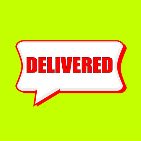 delivered: delivered red wording on Speech bubbles Background Yellow lemon