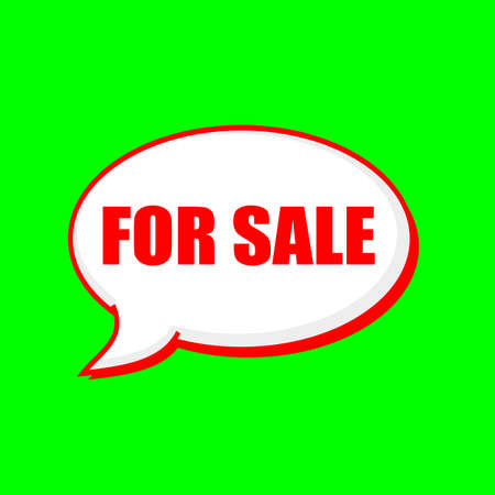 for sale red wording on Speech bubbles Background Green