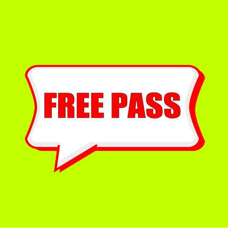 free pass red wording on Speech bubbles Background Yellow lemon Stock Photo