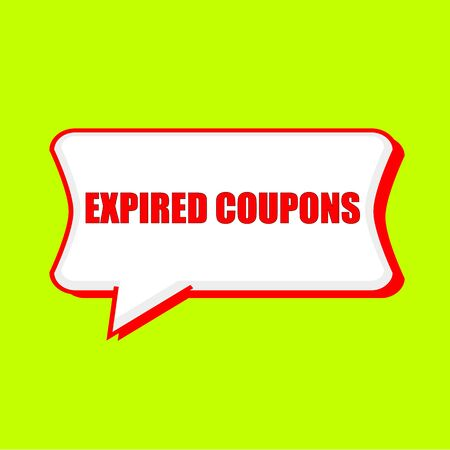 expired: expired coupons red wording on Speech bubbles Background Yellow lemon