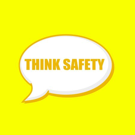 THINK SAFETY orange wording on Speech bubbles Background Yellow Stock Photo