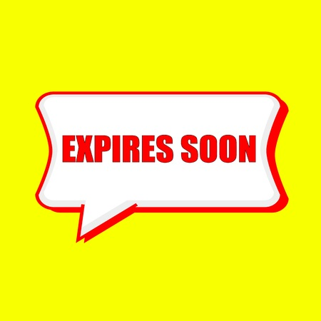 expires: expires soon red wording on Speech bubbles Background Yellow