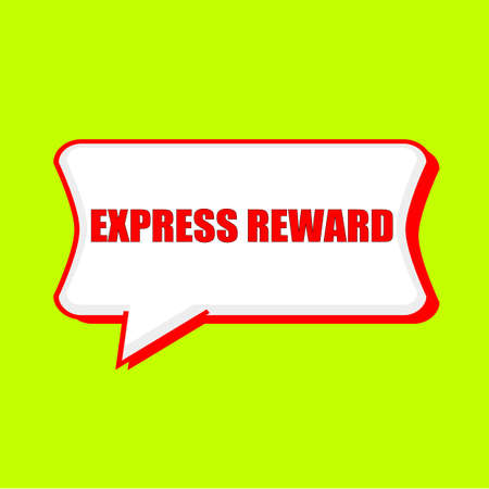 express reward red wording on Speech bubbles Background Yellow lemon Stock Photo