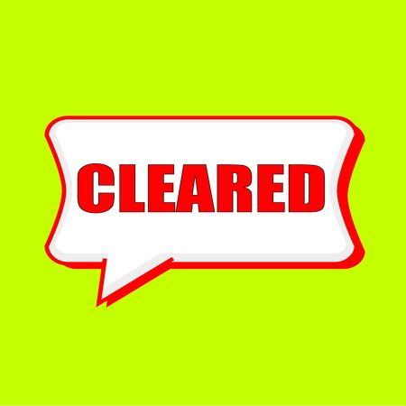 cleared: cleared red wording on Speech bubbles Background Yellow lemon Stock Photo