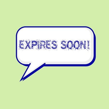 expires: expires soon blue wording on Speech bubbles Background Green-White