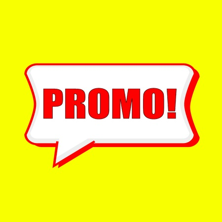 promo red wording on Speech bubbles Background Yellow