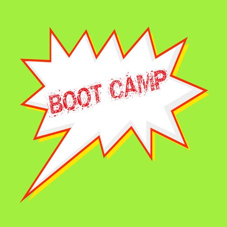 boot camp red wording on Speech bubbles Background Green-yellow Stock Photo