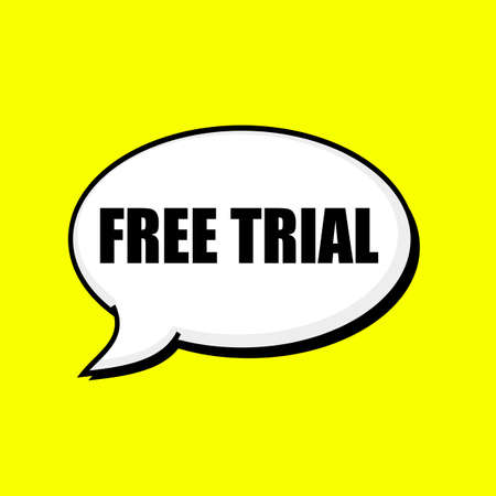 Free trial black wording on Speech bubbles Background Yellow Stock Photo