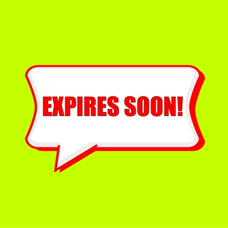 expires: expires soon red wording on Speech bubbles Background Yellow lemon