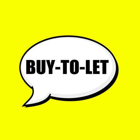 BUY-TO-LET black wording on Speech bubbles Background Yellow Stock Photo