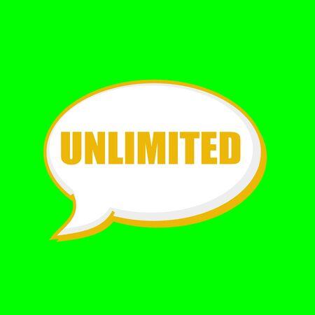 unlimited orange wording on Speech bubbles Background Green
