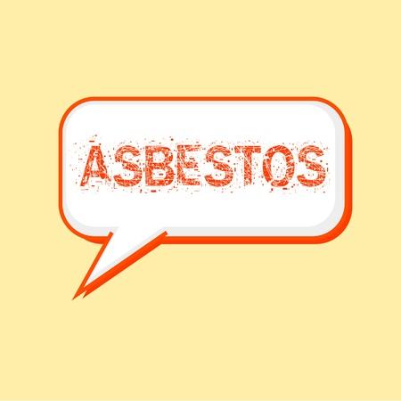 asbestos: ASBESTOS Orange wording on Speech bubbles Background Yellow-White