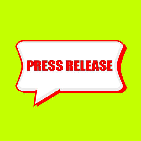 press release: press release red wording on Speech bubbles Background Yellow lemon