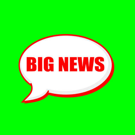 BIG NEWS red wording on Speech bubbles Background Green