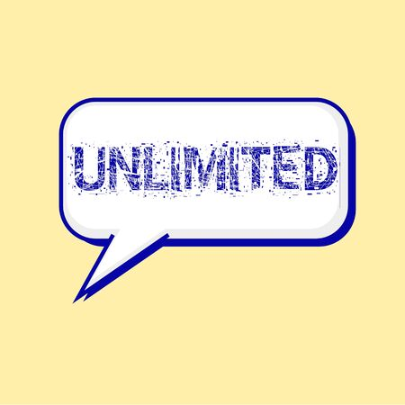 unlimited: unlimited blue wording on Speech bubbles Background Yellow-White