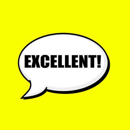 excellent: EXCELLENT black wording on Speech bubbles Background Yellow