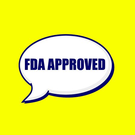 FDA Approved blue-black wording on Speech bubbles Background Yellow Stock Photo