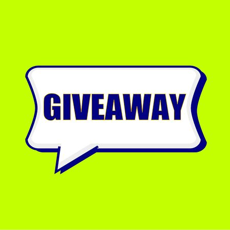 Giveaway blue wording on Speech bubbles Background Yellow lemon