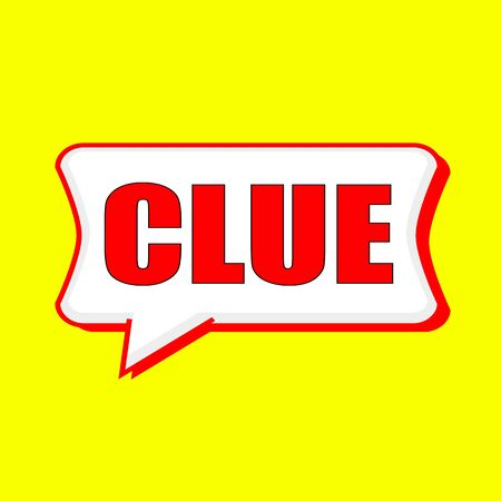 clue: Clue red wording on Speech bubbles Background Yellow