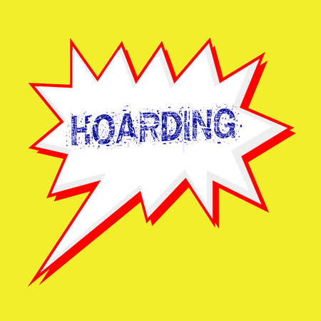 hoarding: HOARDING blue wording on Speech bubbles Background yellow white Stock Photo